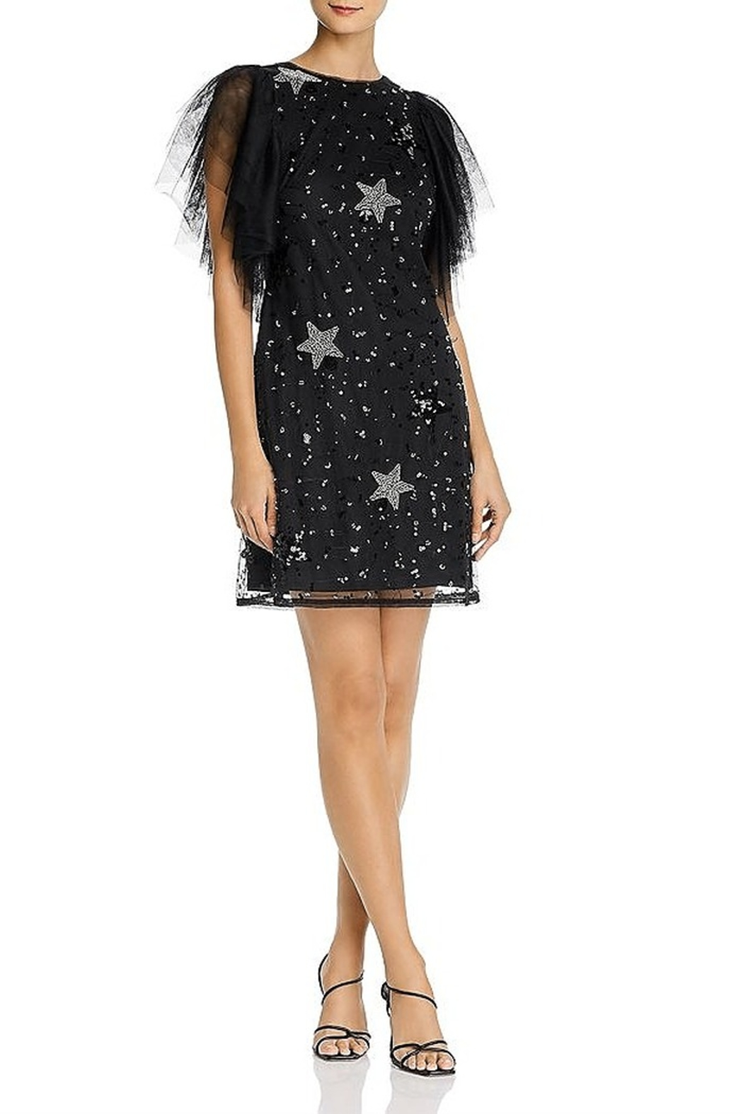Aidan Mattox Tulle Flutter Sleeve Star Dress - Front Cropped Image