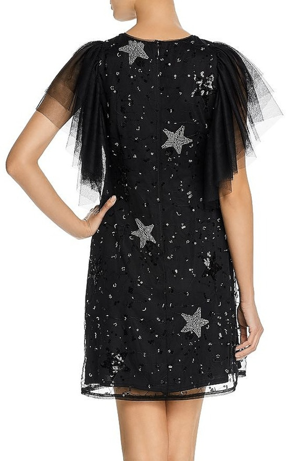 Aidan Mattox Tulle Flutter Sleeve Star Dress - Side Cropped Image
