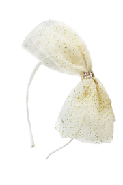 Barilynn Tulle Glitter Bow Headband - Front cropped