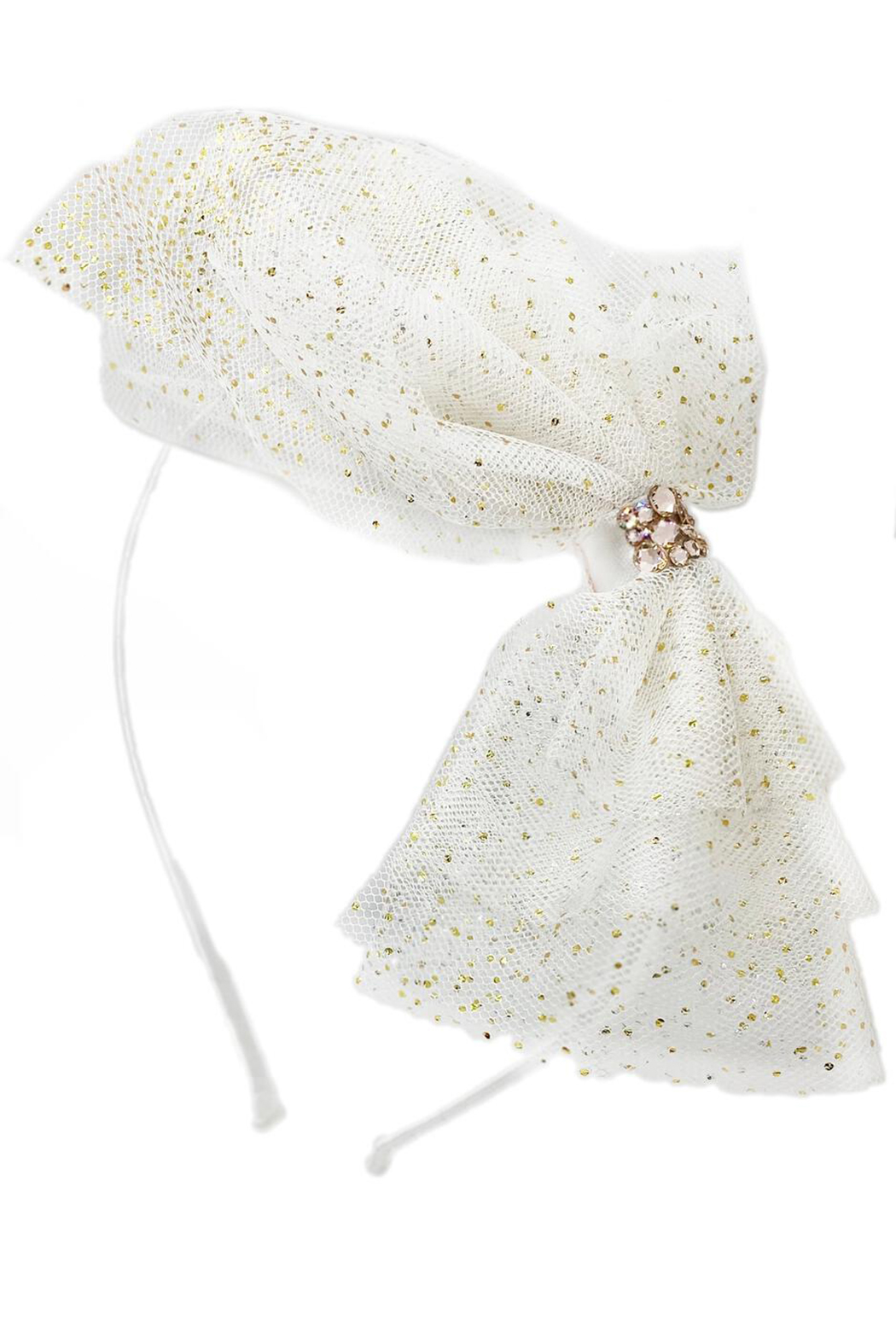 Barilynn Tulle Glitter Bow Headband - Front Cropped Image