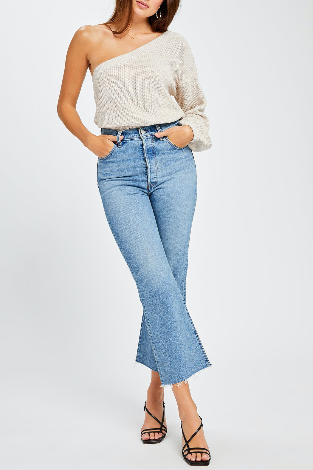 Gentle Fawn Tundra One Shoulder Sweater - Back Cropped Image
