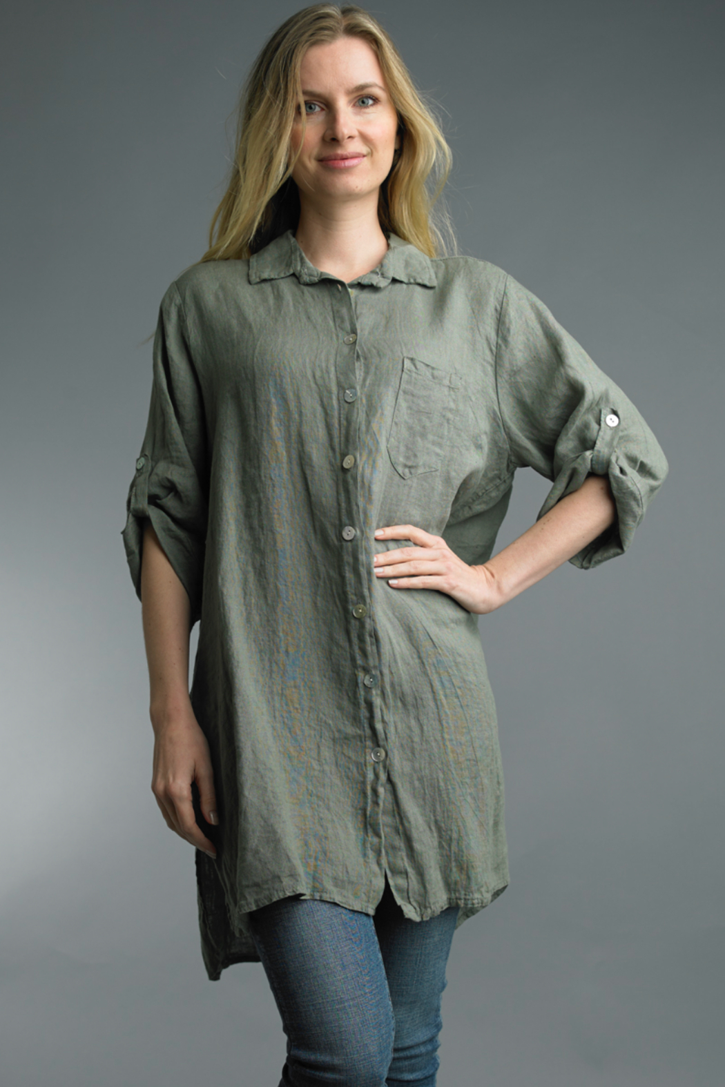 Tempo Paris  Tunic Button Up - Front Cropped Image