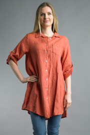 Tempo Paris  Tunic Button Up - Front cropped