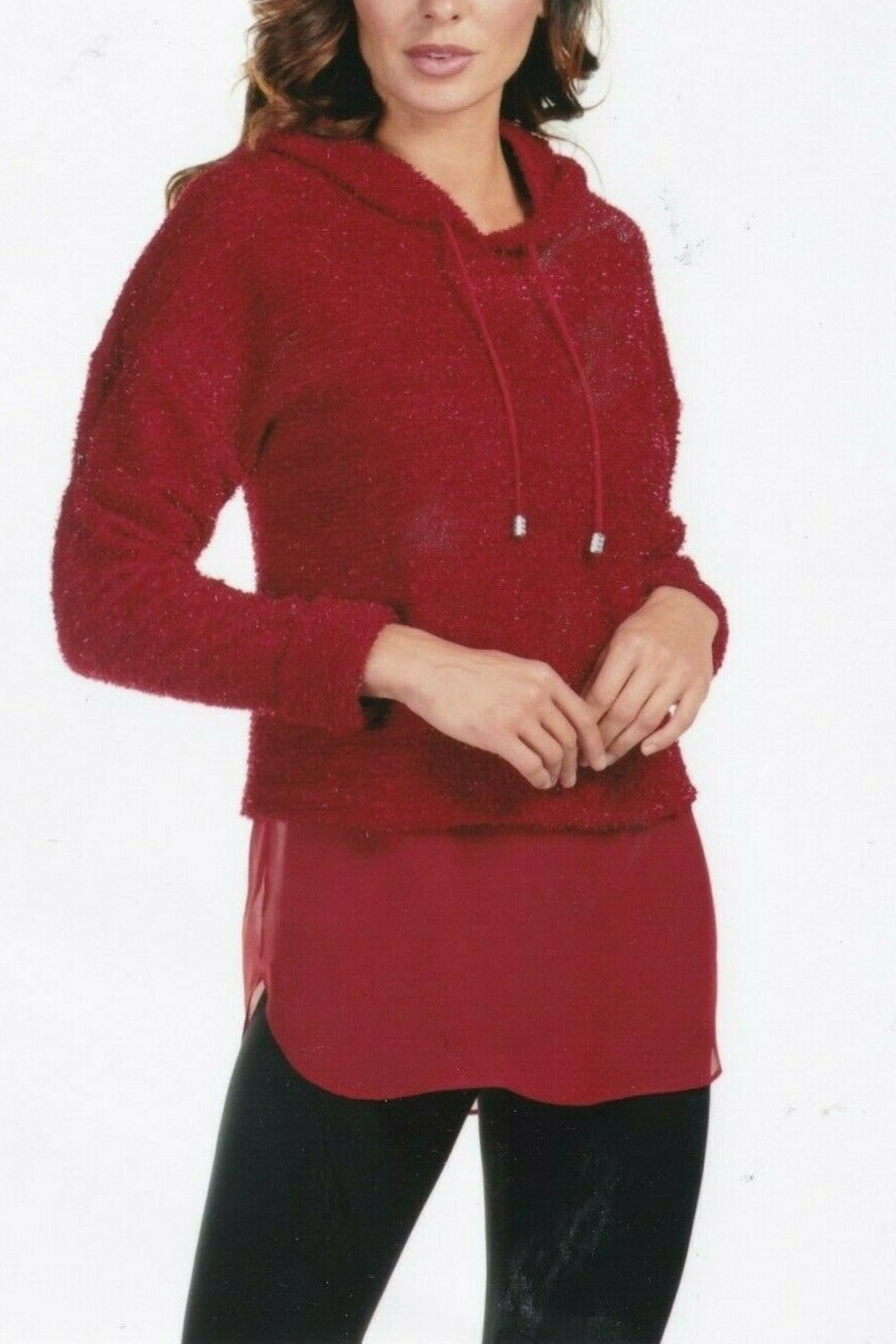 Frank Lyman Tunic Hoodie Top - Front Cropped Image
