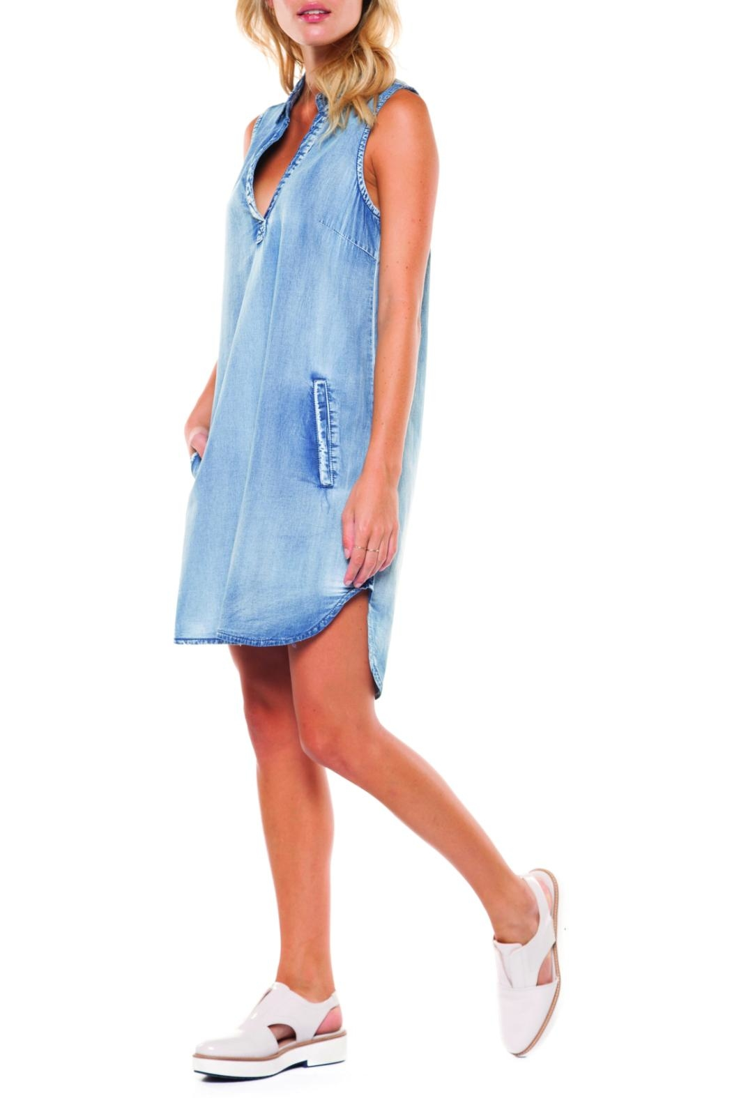 Dex Collar Tunic Dress - Front Cropped Image