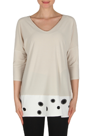 Joseph Ribkoff Tunic W Embroidered Circle Contrast Hem - Product Mini Image