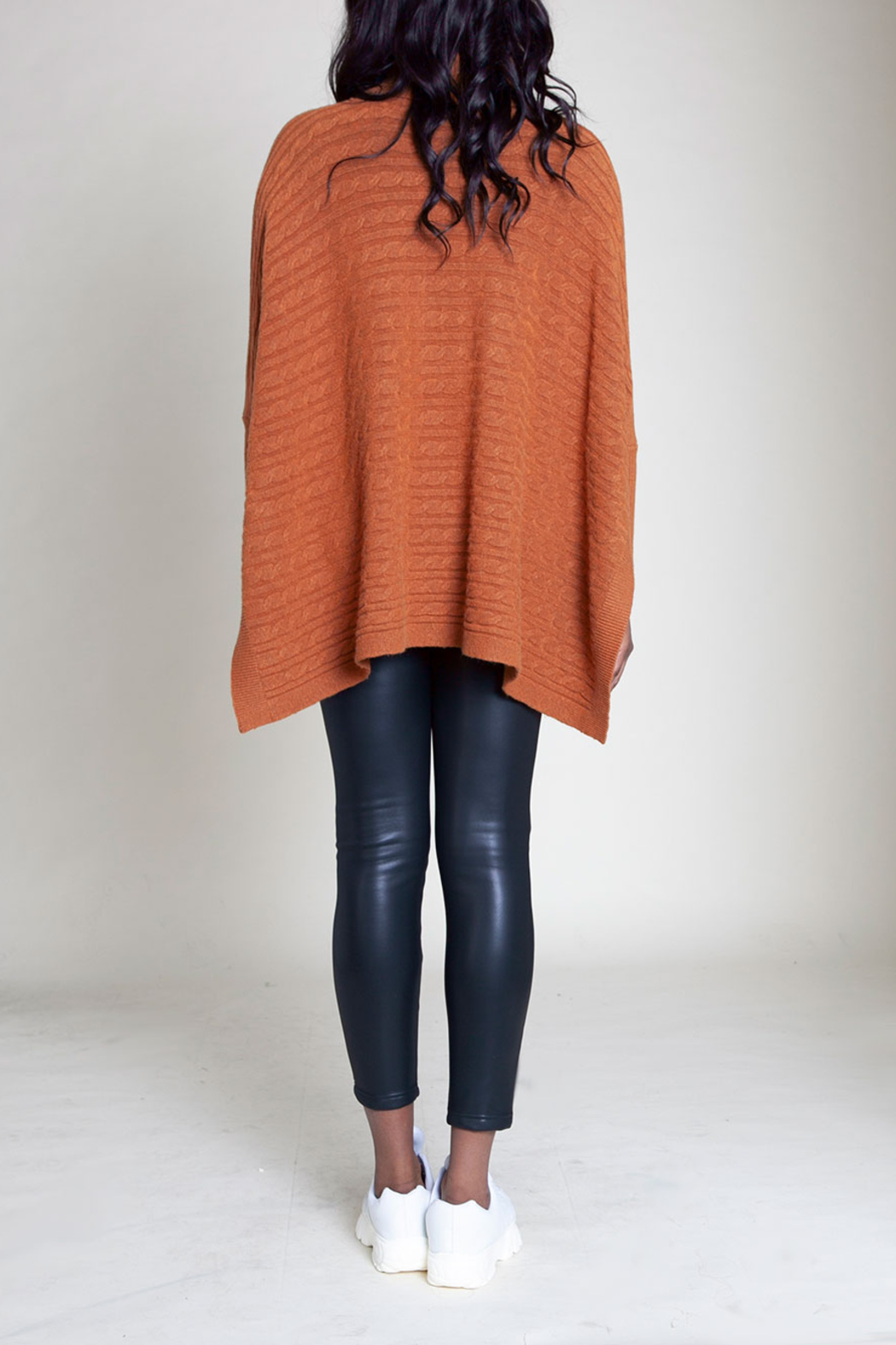 Patrizia Luca Turleneck cable knit poncho - Front Full Image