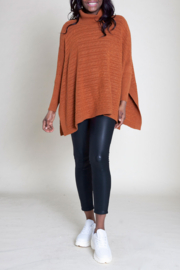 Patrizia Luca Turleneck cable knit poncho - Front cropped