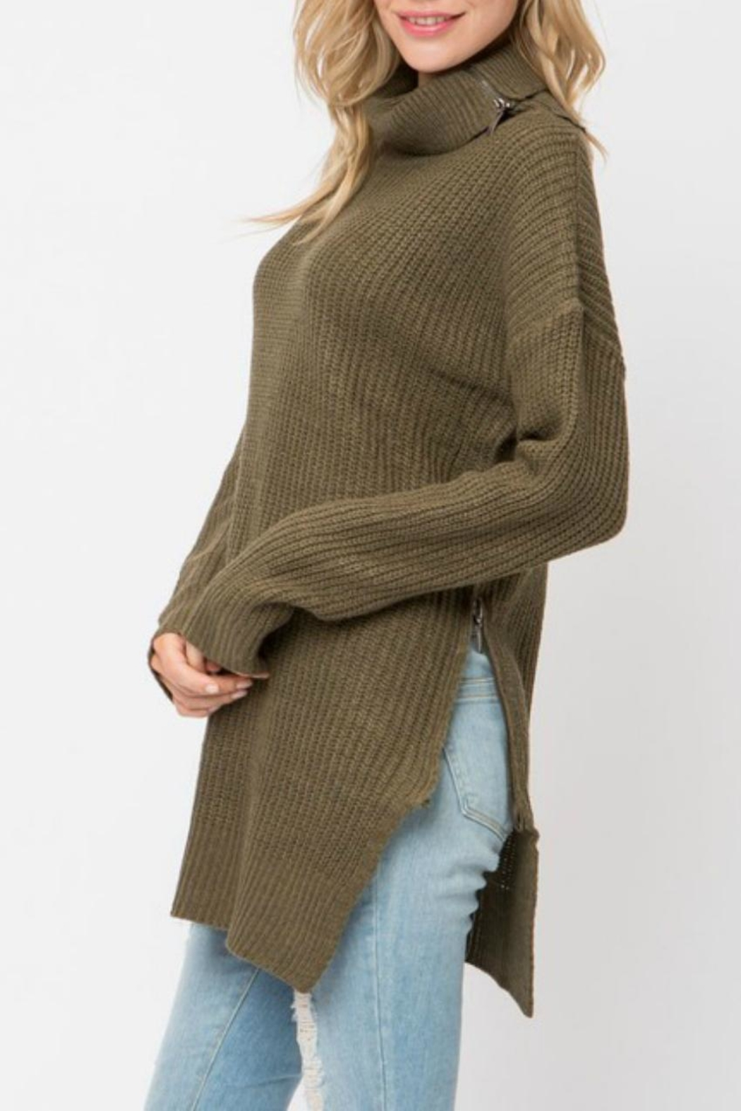 Cozy Casual Turleneck Sweater Tunic - Side Cropped Image