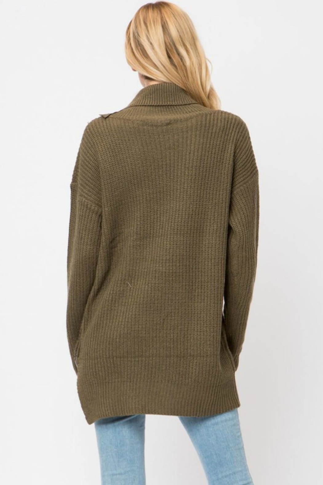 Cozy Casual Turleneck Sweater Tunic - Back Cropped Image
