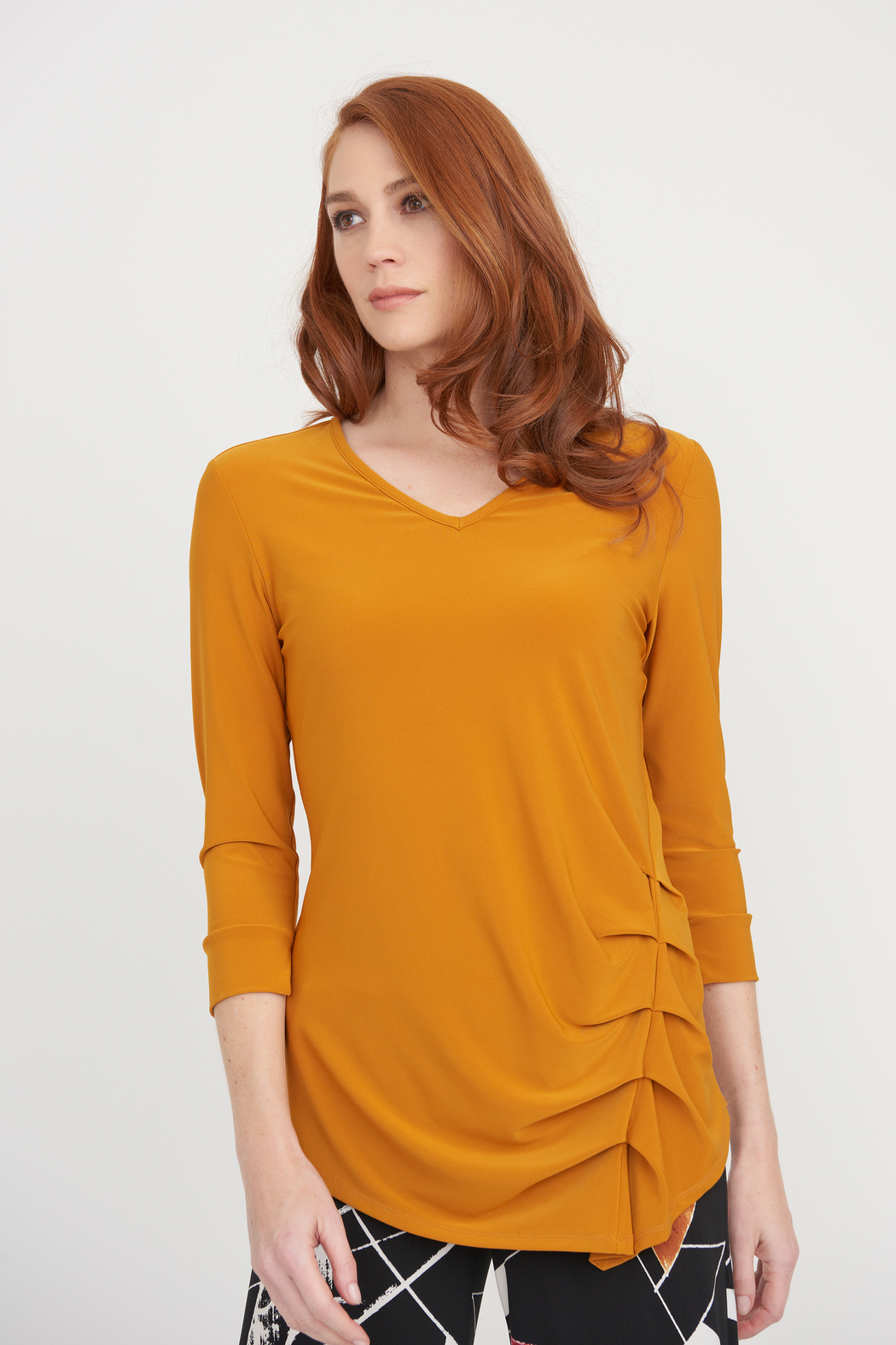 Joseph Ribkoff Turmeric Asymetrical V -Neck Blouse - Front Cropped Image