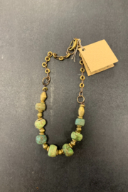 debe dohrer design Turq Hebron beads with brass bicone beads - Front cropped