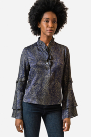 Ecru Turner Ruffle Placket Blouse - Front cropped