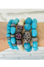 The Woods Fine Jewelry  Turquoise with 3 Pave Charms Bracelet - Product Mini Image