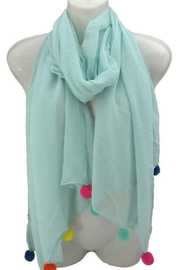 Coronet Turqoise Pompom Scarf - Front cropped