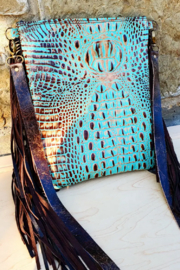 Faire Turquoise and Brown Leather Gator Crossbody Handbag - Front cropped