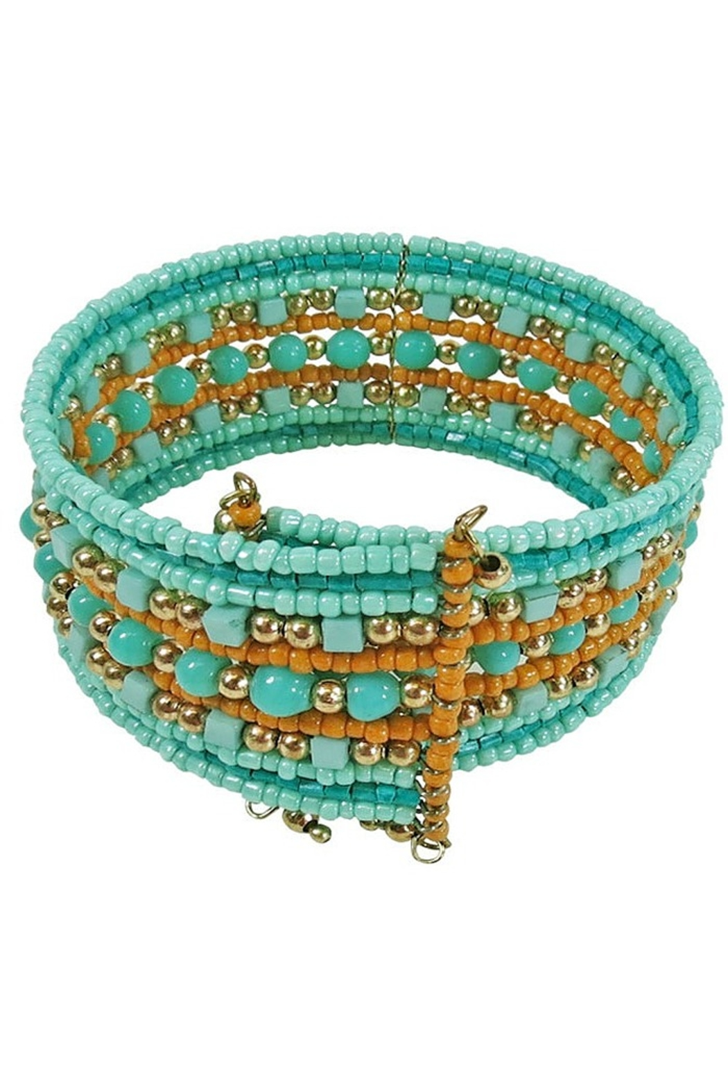 Kenze Panne Turquoise Beaded Cuff - Front Full Image