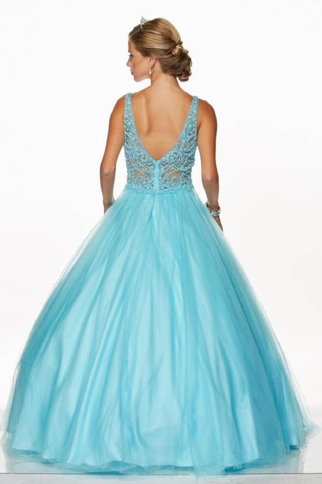 Juliet Turquoise Beaded Formal Ball Gown - Front Full Image