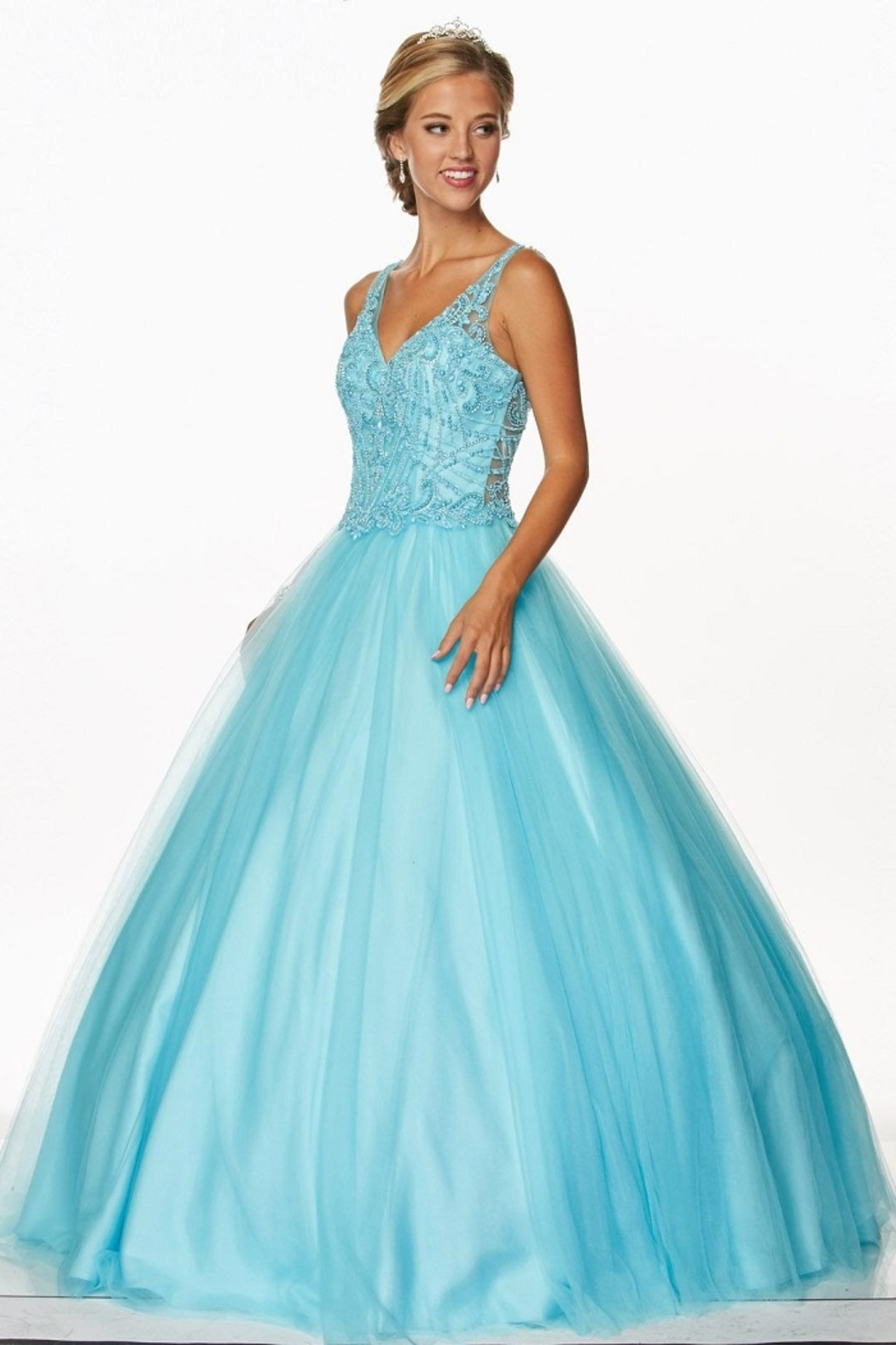 Juliet Turquoise Beaded Formal Ball Gown - Main Image