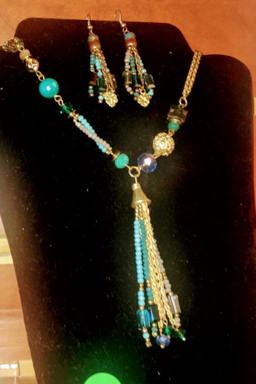 No Name Turquoise Beaded Strand Necklace and earring Set From Cape May New Jersey - Main Image