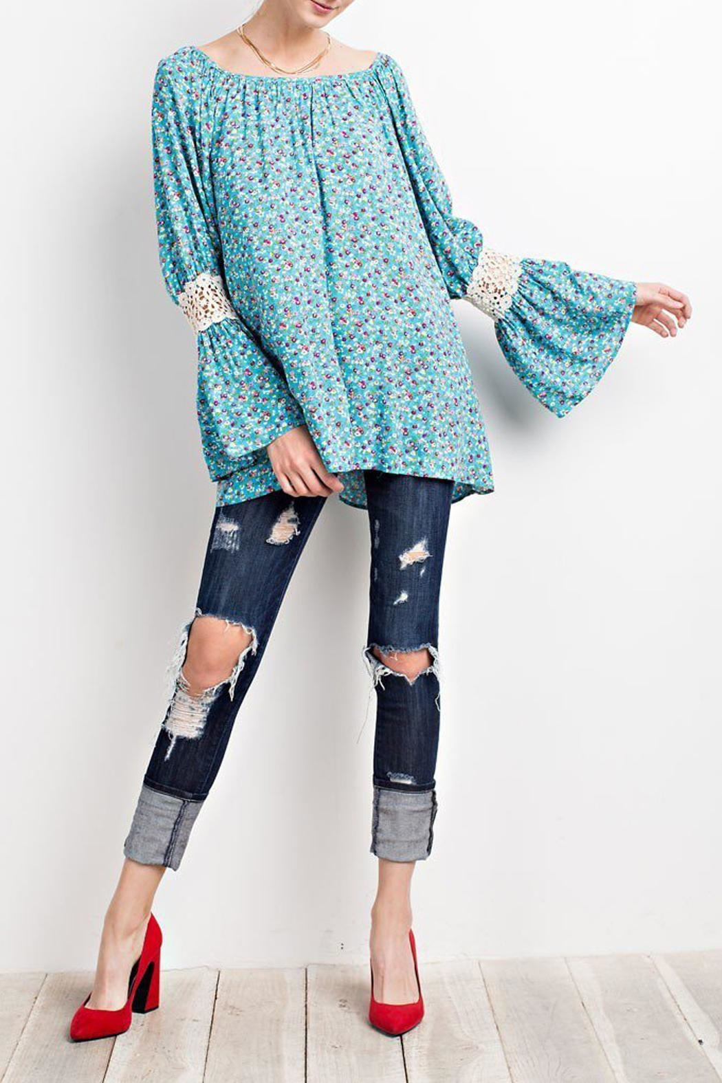 easel Turquoise-Blue Floral-Print Blouse - Main Image