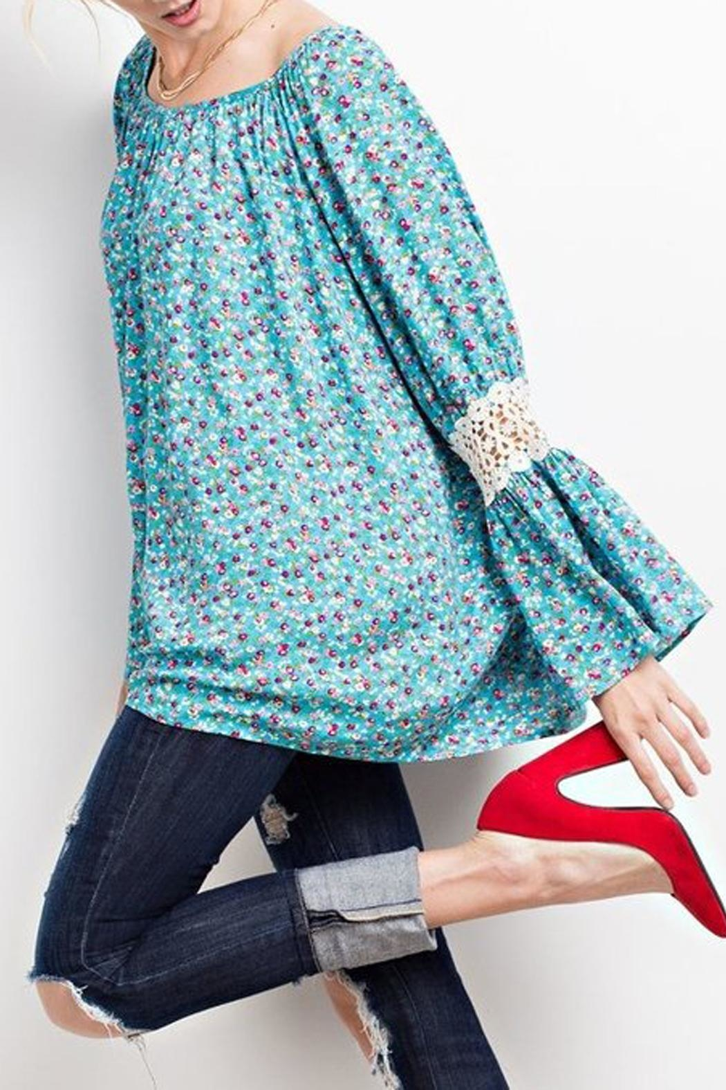 easel Turquoise-Blue Floral-Print Blouse - Front Full Image