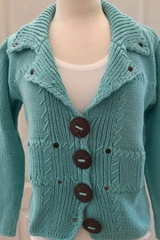 pure Turquoise buttoned down hand knit sweater - Product Mini Image