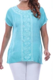 Parsley & Sage Turquoise Embroidered Top - Product Mini Image