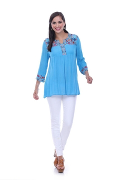 Parsley & Sage Turquoise Embroidered Tunic - Alternate List Image