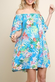 Umgee USA Turquoise Floral Dress - Front cropped