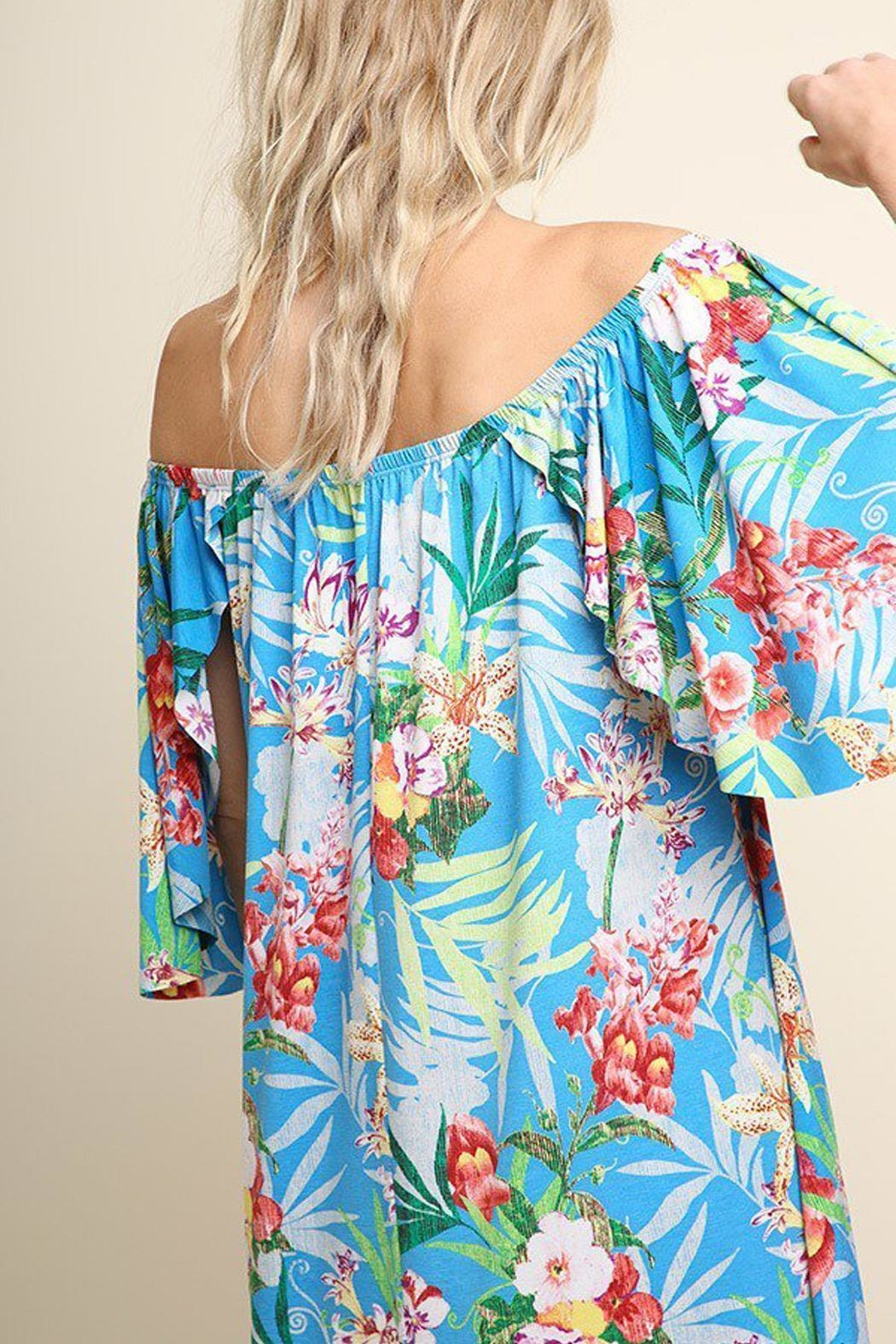 Umgee USA Turquoise Floral Dress - Side Cropped Image