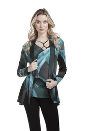 Frank Lyman turquoise, green & grey marbled jacket - Front cropped