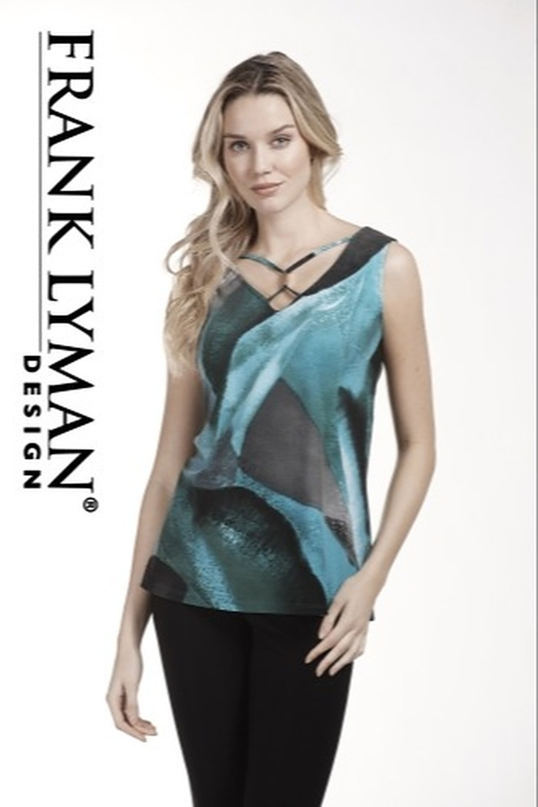 Frank Lyman turquoise, grey, green marbled top - Main Image