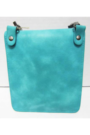 KIMBALS Turquoise Leather Clutch - Front full body