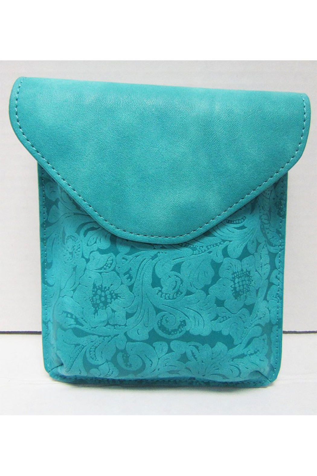 KIMBALS Turquoise Leather Clutch - Main Image