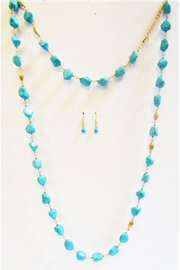 KIMBALS Turquoise Long Strand Necklace Set - Front cropped