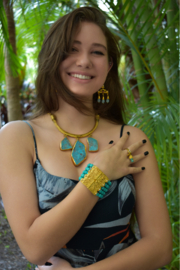 Gypsy Handmade Turquoise & Pearl Bracelet - Side cropped