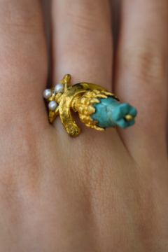 Gypsy Handmade Turquoise & Pearl Ring - Product List Image