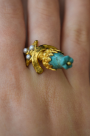 Gypsy Handmade Turquoise & Pearl Ring - Product Mini Image