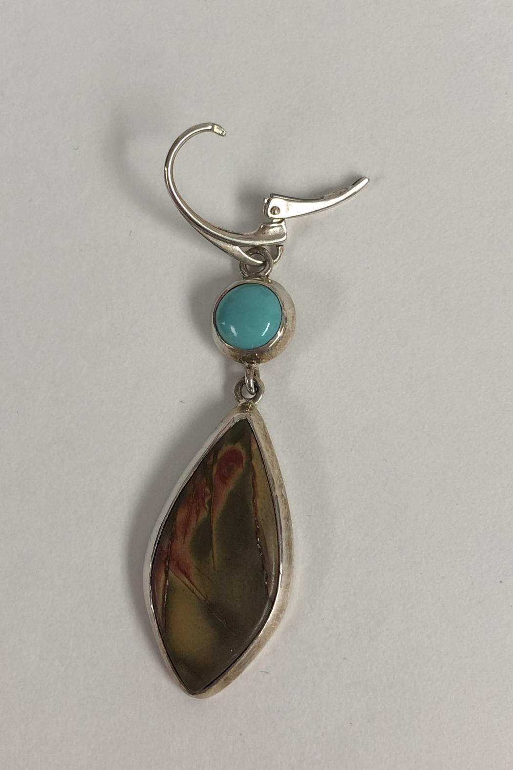 Toto Collection Turquoise/ Red Creek Jasper Earrings - Back Cropped Image