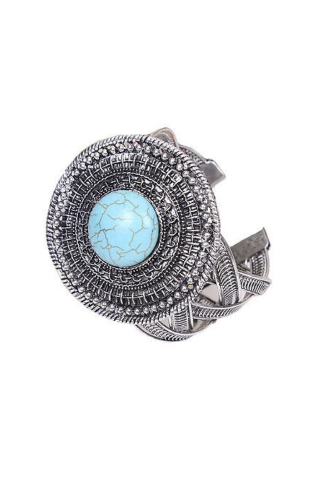 Twisted Designs Turquoise Silver Cuff - Main Image