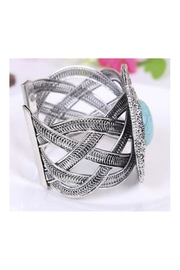 Twisted Designs Turquoise Silver Cuff - Front full body