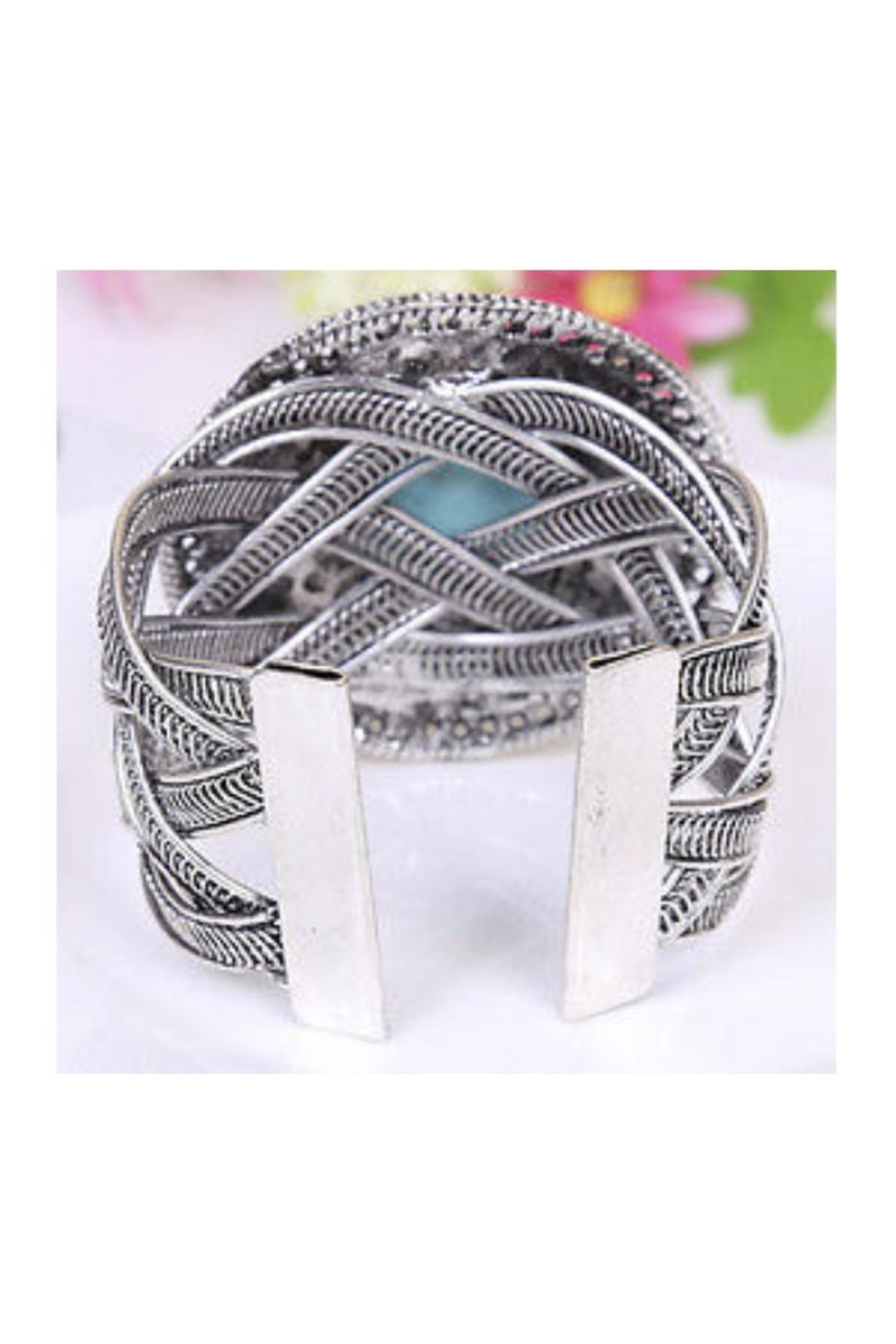 Twisted Designs Turquoise Silver Cuff - Side Cropped Image