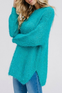 Modern Emporium Turquoise Solid Sweater - Alternate List Image