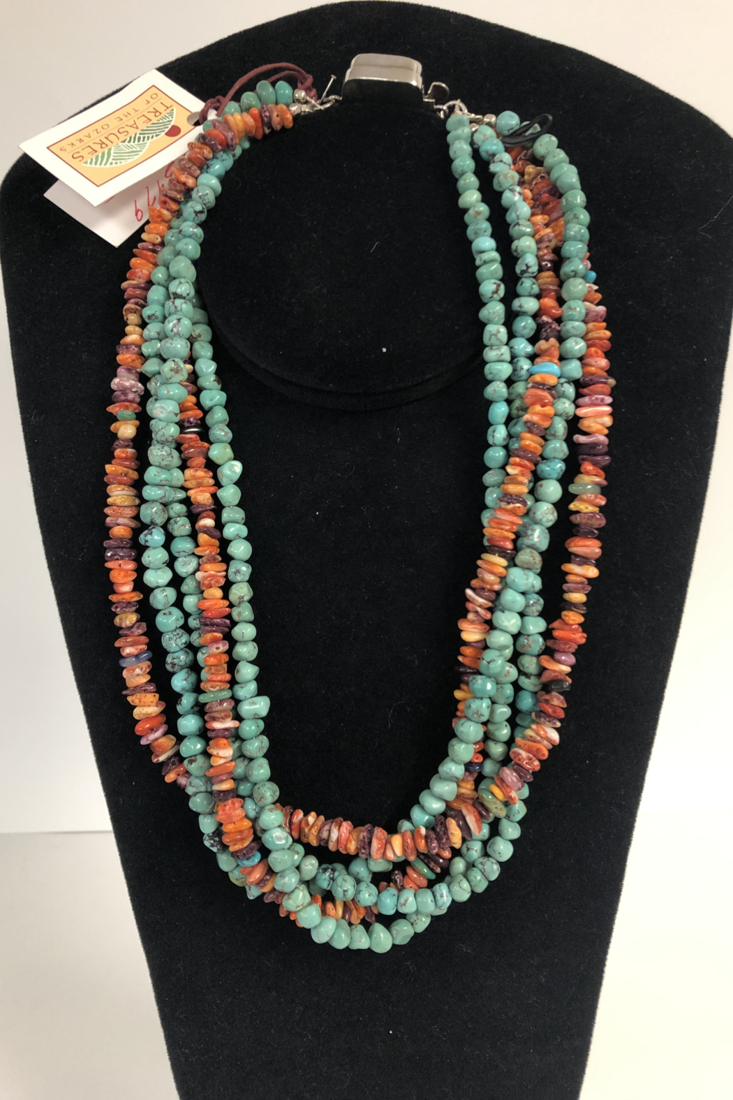Toto Collection Turquoise/ Spiny Oyster Shell Necklace - Front Full Image