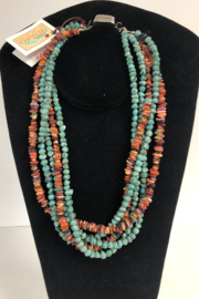 Toto Collection Turquoise/ Spiny Oyster Shell Necklace - Front full body