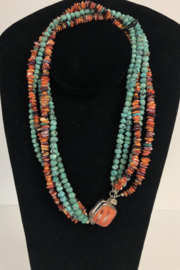 Toto Collection Turquoise/ Spiny Oyster Shell Necklace - Front cropped