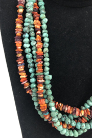 Toto Collection Turquoise/ Spiny Oyster Shell Necklace - Back cropped