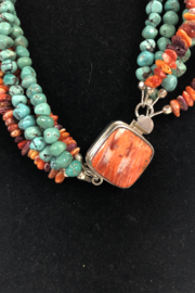 Toto Collection Turquoise/ Spiny Oyster Shell Necklace - Side cropped