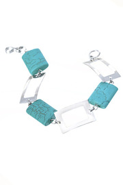 Joseph Pineda Turquoise Squares Silver Bracelet - Front cropped